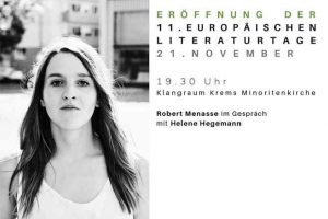 Robert Menasse im Gespräch mit Helene Hegemann @ Klangraum Krems Minoritenkirche